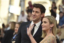 John Krasinski, left, and Emily Blunt arrive at the 23rd annual Screen Actors Guild Awards at the Shrine Auditorium & Expo Hall on Jan. 29, 2017, in Los Angeles.
