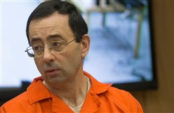 Former Michigan State University and USA Gymnastics doctor Larry Nassar appears in court for his final sentencing phase in Eaton County Circuit Court Feb. 5, 2018 in Charlotte, Mich.