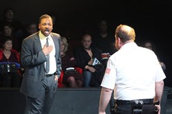 "Kevin H. Moore as Virgil Tibbs and Daniel Pivovar as Chief Gillespie in ""In the Heat of the Night,"" at Pittsburgh Playwrights Theatre Company through March 11."