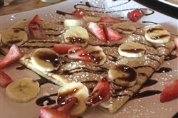 Crepes with fruit and chocolate sauce at Gino's Petit Dejeuner, a French/Turkish breakfast-and-lunch place that opened in November in a shopping plaza in Harmar.