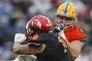 Pitt's Brian O'Neill of Pittsburgh blocks Utah defensive end Kylie Fitts in the first half of the Senior Bowl Jan. 27 in Mobile, Ala.