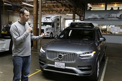 In this photo taken in December 2016, Anthony Levandowski, then-head of Uber's self-driving program, speaks about their driverless car in San Francisco