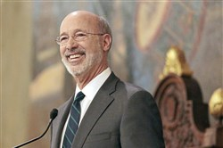 Gov. Tom Wolf gives his budget address at the state Capitol in Harrisburg, Pa., on Tuesday, Feb. 6, 2018.