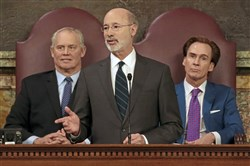 Gov. Tom Wolf gives his budget address at the state Capitol in Harrisburg, Pa., on Tuesday.