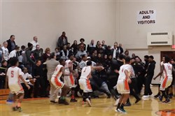 A fight broke out during the Clairton vs. Monessen basketball game Tuesday, February 6, 2018.