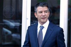 Former Uber CEO Travis Kalanick leaves the Phillip Burton Federal Building on day three of the trial between Waymo and Uber Technologies  on February 7, 2018, in San Francisco.