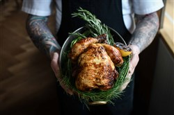 The heritage chicken comes from Pennsylvania's FreeBird farm and is available as a family-style dish.
