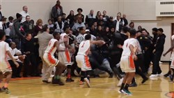 A fight breaks out during the Feb. 6 Clairton-Monessen basketball game at Clairton High School.