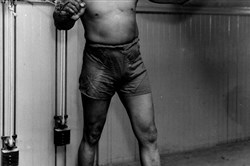 Jack Johnson, the first black world heavyweight champion, in 1932.