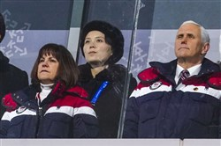 In this file photo, Vice President Mike Pence and his wife, Karen, stand with Kim Yo Jong, sister of North Korean leader Kim Jong Un, during the opening ceremony of the 2018 Winter Olympics in Pyeongchang, South Korea, on Feb. 9, 2018.