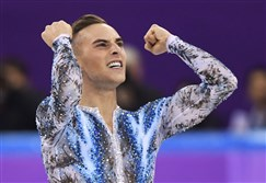 Scranton native Adam Rippon reacts after his performance in the men's single skating free skating Monday at the 2018 Winter Olympics in Gangneung, South Korea.