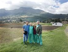 Photo of Wilps family with the mountains of Ecuador behind them. Left to right, Tyler, his mother Lisa, sister Claire and father Jeffrey.