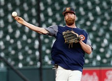 Colin Moran of the Houston Astros takes infield before batting practice at Minute Maid Park on July 18.