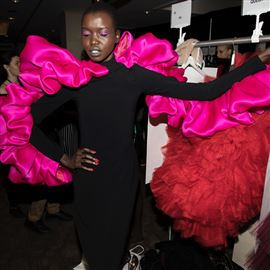 Backstage of fashion show dress changing dance