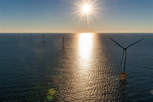 The Deepwater Wind project, which sits off the coast of Rhode Island's Block Island, on Aug. 23, 2017.