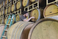 Bert Mooney IV checks beer aging in the rack of barrels at Strange Root Experimental Ales in West Deer.