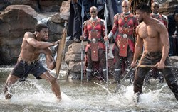 "Chadwick Boseman, left, and Michael B. Jordan in ""Black Panther."""