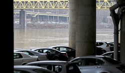 Cars are parked at the Mon Wharf parking area in Downtown Pittsburgh in this Feb. 15, 2018 file photo.