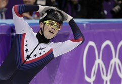 John-Henry Kruegers reacts after winning his men's 1000-meter short track speed skating semifinal at the 2018 Winter Olympics in Gangneung, South Korea Saturday.