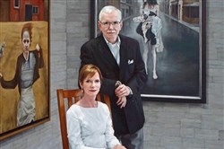 "These are painted images of Steven Alan Bennett and his wife, Elaine Melotti Schmidt, in the figurative realism style by Katie O'Hagan ""Portrait of the Collectors."" It is part of their private collection, which showcases all women artists. The Pittsburgh Foundation has established The Bennett Prize to recognize and encourage emerging women artists."