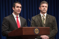 Auditor General Eugene DePasquale announces the start of a performance audit of the Pennsylvania Game Commission, the agency responsible for managing the commonwealths wildlife resources, during a news conference on Tuesday. With him during the announcement is state Rep. David Maloney Sr., a Republican who represents the 130th District in Eastern Pennsylvania.