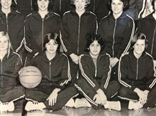 As a member of the Baldwin girls basketball team, Denise Del Greco, seated to the right of the player with the basketball, helped the Highlanders to WPIAL titles in 1974 and 1976.