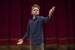 "Mathew Long of Falk Laboratory School, as Marc Antony in ""Julius Caesar,"" tied for the Lower Division Monologue victory in Pittsburgh Public Theater's Shakespeare Monologue & Scene Contest."