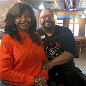 Carleen and Michael King, owners of Carmi Family Soul Food, which just reopened on Carson Street on the South Side after seven years on the North Side.