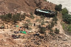 A bus is seen after it ran off the road and plunged into a ravine on the Panamerican road in southern Peru on February 21, 2018, killing 35 people.