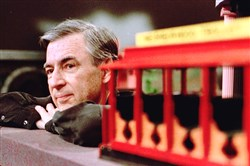 Fred Rogers pauses during a May 27, 1993, taping of his show.