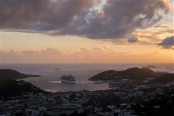In this file photo, a cruise ship departs Charlotte Amalie in St. Thomas, U.S. Virgin Islands, on Jan. 23.