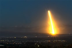 A SpaceX Falcon 9 rocket lifts off Feb. 22, 2018, over Lompoc, Calif., from Vandenberg Air Force Base, in the company's first West Coast launch of the year.