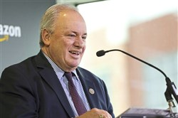 U.S. Congressman Mike Doyle speaks during a press conference announcing the expansion of the Amazon offices at Amazon in the South Side, Pittsburgh, on Thursday Feb., 22, 2018.