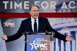 The National Rifle Association's (NRA) Executive Vice President and CEO Wayne LaPierre speaks during the 2018 Conservative Political Action Conference at National Harbor in Oxen Hill, Maryland on February 22, 2018.