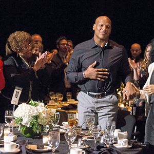 Steelers linebacker Ryan Shazier stood up to a standing ovation with the help from his fiancee, Michelle Rodriguez, after being acknowledged by Kevin Colbert during his acceptance speech at the Dapper Dan Dinner & Sports Auction on Wednesday.