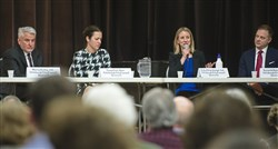 From left Martin Healey, Sonja Finn, Erika Strassburger and Rennick Remley during a candidate forum for the Pittsburgh City Council District 8 special election on Feb. 22 at the Jewish Community Center in Squirrel Hill.