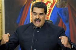 In this file photo Venezuela's President Nicolas Maduro gives a press conference at Miraflores presidential palace in Caracas, Venezuela.
