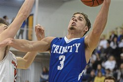 Joey Koroly, a 4,000-yard rusher in football, is a four-year starter at Trinity who averages 16 points per game.