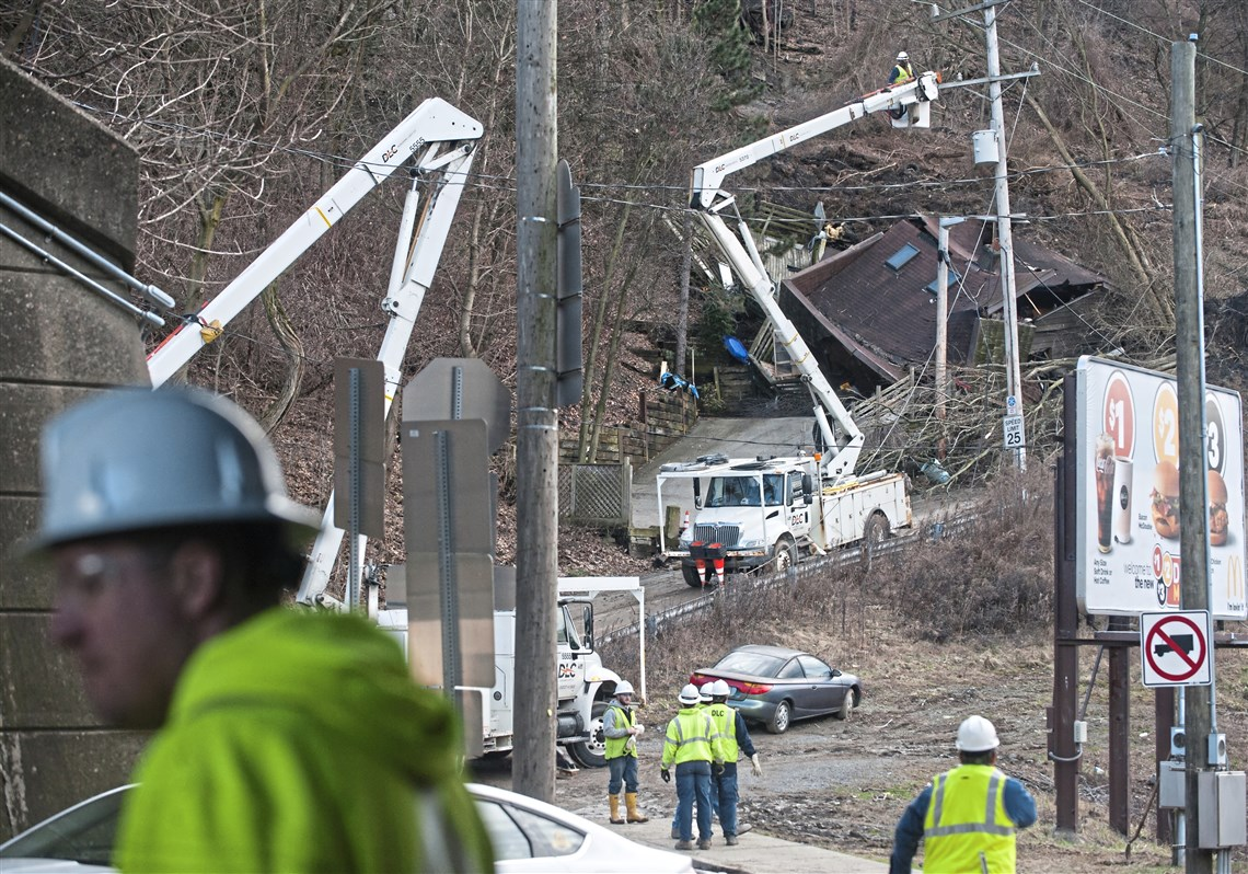 Duquesne Light Crews Work On Repairs By A Home That Was Destroyed During A  Landslide On