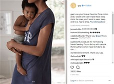 A photo of Nigerian-American model Adaora Akubilo nursing her 20 month-old son featured on the Gap Instagram page has earned praise for its positive portrayal of breastfeeding.