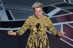 "Frances McDormand accepts the award for best performance by an actress in a leading role for ""Three Billboards Outside Ebbing, Missouri"" at the Oscars on Sunday. She also called on Hollywood to open more opportunities to women."