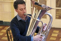 Pittsburgh Symphony Orchestra's Craig Knox plays a small selection from a movement in a new tuba concerto composed by Jennifer Higdon, a renowned Philadelphia-based composer.