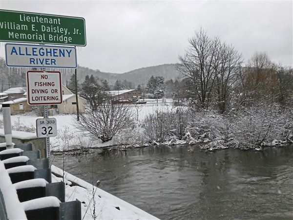The Allegheny River is a small stream where it flows past the Coudersport Area Municipal Authority, site of a proposed shale gas drilling and fracking wastewater treatment facility.