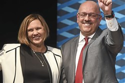 Carnegie Mellon's new president Farnam Jahanian and his wife Tris on stage following Mr. Jahanian speech to faculty, students and  other officials Thursday, March 8, 2018, in the Rangos Ballroom of Cohon University Center.