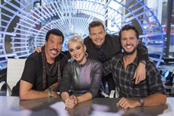 "ABC's ""American Idol"" judges Lionel Richie, Katy Perry and Luke Bryan with host Ryan Seacrest."