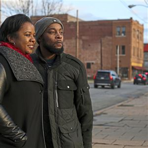 Danielle Parson-Rush would welcome Amazon because of the restaurants, grocery stores and other amenities it would bring in spurring further community revitalization. Her husband, LaWarren Rush, is on the right.