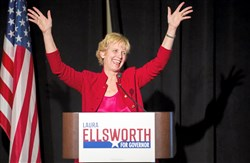 Republican Gubernatorial candidate Laura Ellsworth is greeted with cheers from supporters during her first campaign rally on March 8 at the Heinz History Center.