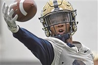 Pitt safety Damar Hamlin goes through drills last week at the UPMC Rooney Sports Complex on the South Side.