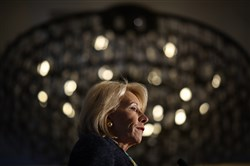 "ARLINGTON, VA - MARCH 13:  U.S. Education Secretary Betsy DeVos speaks at the National Parent-Teacher Association's 2018 Legislative Conference March 13, 2018 in Arlington, Virginia. DeVos spoke on the administration's plan ""to improve school safety and the importance of parent and family engagement in education.""  (Photo by Win McNamee/Getty Images)"