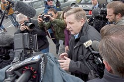 Republican Candidate Rick Saccone is surrounded with media as he arrives to casts is ballot for The 18th Congressional District Special Election at the Mount Vernon Presbyterian Church, Tuesday, March 13.